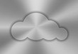 Cloud computing shape on a brushed metal