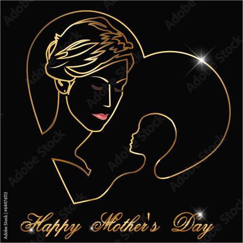 Happy Mothers's Day, Silhouette of a mother and child