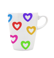 White cup white colorful hearts isolated on white