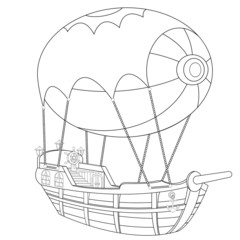 Airship Coloring Book Page