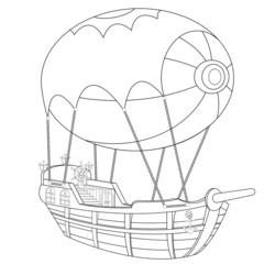 Airship Coloring Book Page