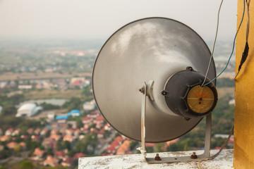 Outdoor black loudspeakers  broadcasting