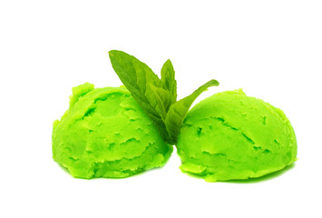 Scoop of pistachio ice cream from top