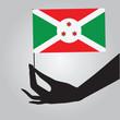 Burundi flag in his hand