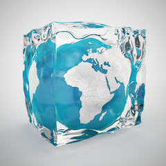 frozen world or ice age concept