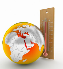 world and thermometer, global warming concept