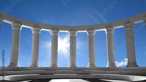 Foto op Aluminium Oude gebouw Ancient marble pillars in elliptical arrangement with blue sky
