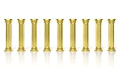 Ancient gold pillars in a row isolated on white