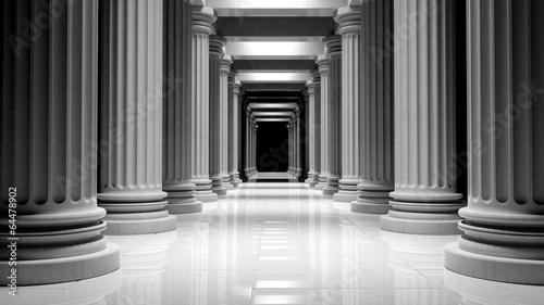 Foto op Aluminium Oude gebouw White marble pillars in a row inside a building