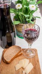 Rustic snack with bread, parmesan and wine_#4