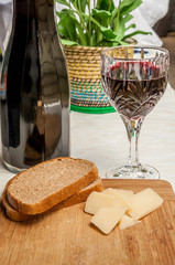 Rustic snack with bread, parmesan and wine_#3
