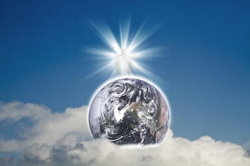 Jesus with earth(Earth Elements of this image furnished by NASA)
