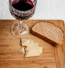 Rustic snack with bread, parmesan and wine_#2
