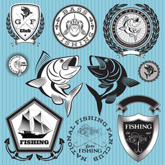 set vector emblems on the topic fishing