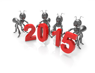 new year 2015 with 3d cartoon ants-concept