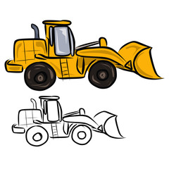 Yellow Bulldozer-excavator