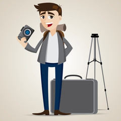 cartoon photographer with bag and tripod