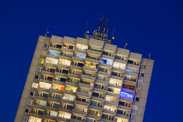 Apartment Highrise At Night