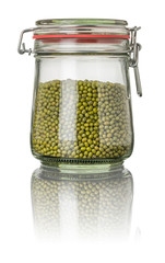Mungobohnen in einem Einmachglas