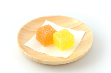japanese candy jelly beans for tea time on white background