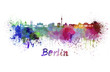 canvas print picture - Berlin skyline in watercolor