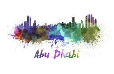 Abu Dhabi skyline in watercolor