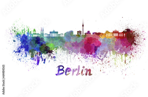 canvas print picture Berlin skyline in watercolor