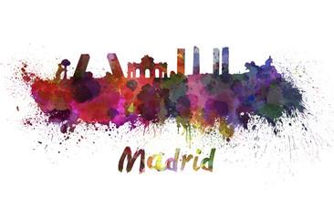 Madrid skyline in watercolor