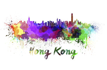Hong Kong skyline in watercolor