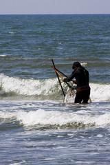 Clams fisherman at work