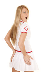 nurse back hands on butt