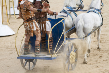 Warriors, Roman chariot in a fight of gladiators, bloody circus