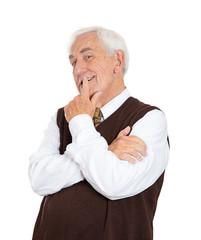 Happy daydreaming senior elderly man on white background