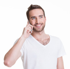 Portrait of  happy man calling by mobile.