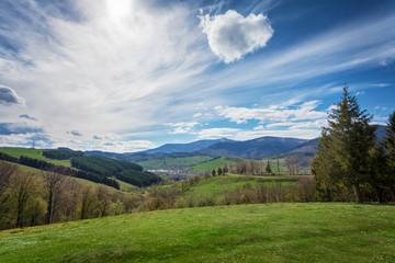 sunny summer day in Carpathian mountaings landscape, Ukraine, Eu