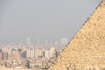 City of Giza in Egypt with part of a pyramid visible