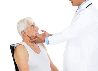 Doctor performing neck lymph node examination on a patient
