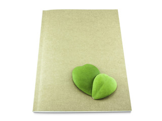 Heart leaf on Recycle Notebook Isolated on White Background