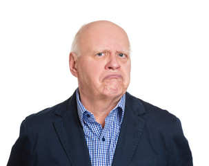 Headshot annoyed grumpy suspicious old man white background