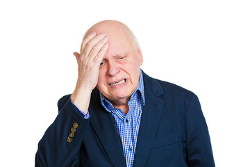 Senior old man receiving bad news, upswept, stressed out, crying