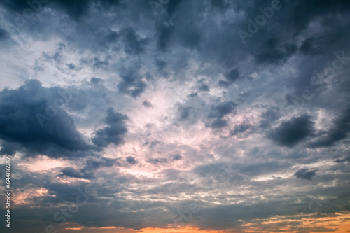 Dramatic sky with storm clouds as background