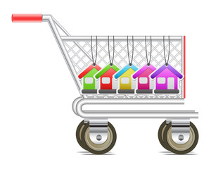 Shopping cart with house tag