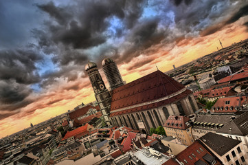 View of Munich city before the storm