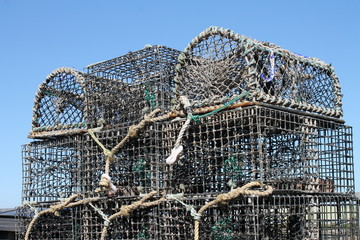 Lobster or creel pots neatly stacked