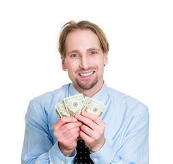Portrait business man Happy to have money, white background