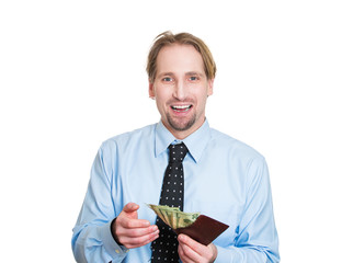 Cash back savings. Happy man showing wallet full of money