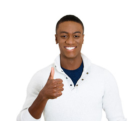Young adult man showing thumbs up gesture on white