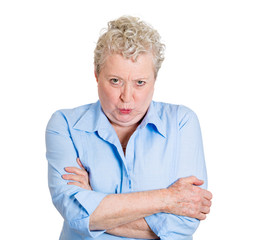 portrait pissed off old female isolated on white background