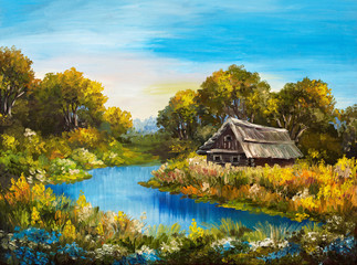 Oil Painting - Farmhouse near the river