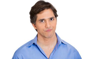 Portrait annoyed man isolated on white background